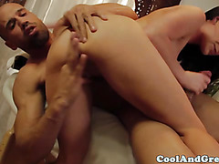 Brunette masseuse sucking clients cock