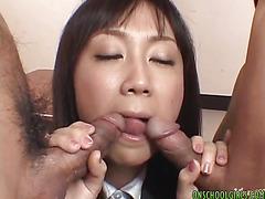 Asian teacher gets double dicks in the class