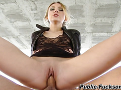 Babe gets public cumshot